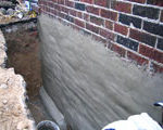 Step 2 - Parged with Waterproofing Cement